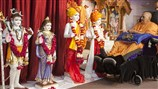 Swamishri performs murti-pratishtha rituals for murtis to be consecrated at BAPS Shri Swaminarayan Mandir, Corpus Christi, TX, USA