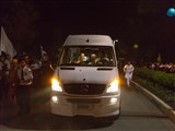 HH Pramukh Swami Maharaj arrives at BAPS Shri Swaminarayan Mandir, Robbinsville, NJ on August 6, 2014 at 12:52 AM