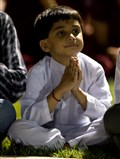 Child doing darshan
