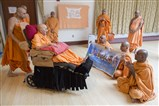 Swamishri giving blessing for Scarborough Mandir Murti Pratishtha