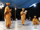 A presentation by sadhus before Swamishri
