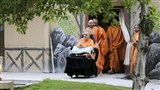 HH Pramukh Swami Maharaj arrives for his morning puja