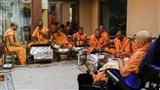 Sadhus prepare sweets in Swamishri's presence, on the occasion of Bhagwan Swaminarayan's Smruti Parva