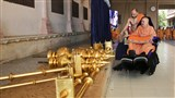 Swamishri sanctifies flagstaffs and kalash for new BAPS Shri Swaminarayan Mandir, Savarkundala, Amreli, India