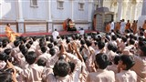 Students doing darshan of Samishri