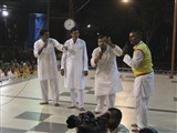Youths from Ahmedabad perform a skit before Swamishri