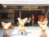 Sadhus perform yoga before swamishri