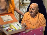 Swamishri sanctifies BAPS Amrut Herbal Care products