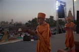 Senior Sadhus perform arti