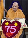 Swamishri on the 75th anniversary of his bhagwadi diksha din - the day he was initiated as a sadhu and named 'Sadhu Narayanswarupdas'