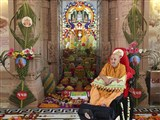 Annakut offered to Brahmaswarup Shatriji Maharaj on the tithi of his birth anniversary, Vasant Panchami