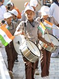 Students of Swaminarayan Vidyamandir parade before Swamishri to mark Republic Day of India