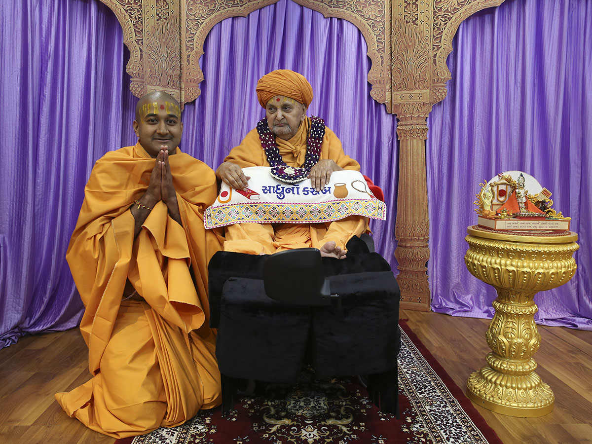 A newly initiated sadhu with Swamishri