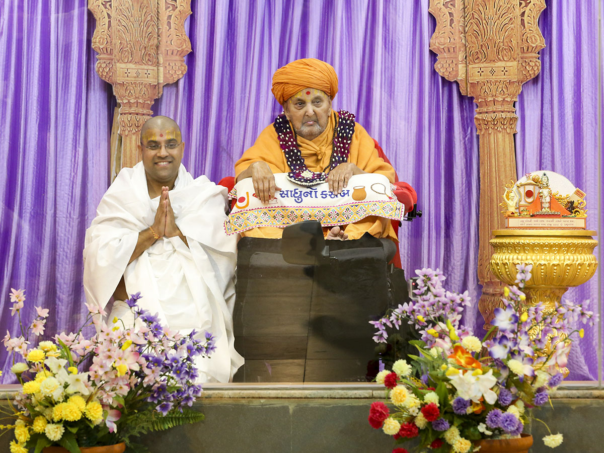 A newly initiated parshad with Swamishri