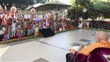 A cultural dance performance before Swamishri