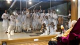 Sadhaks rejoice before Swamishri in the evening
