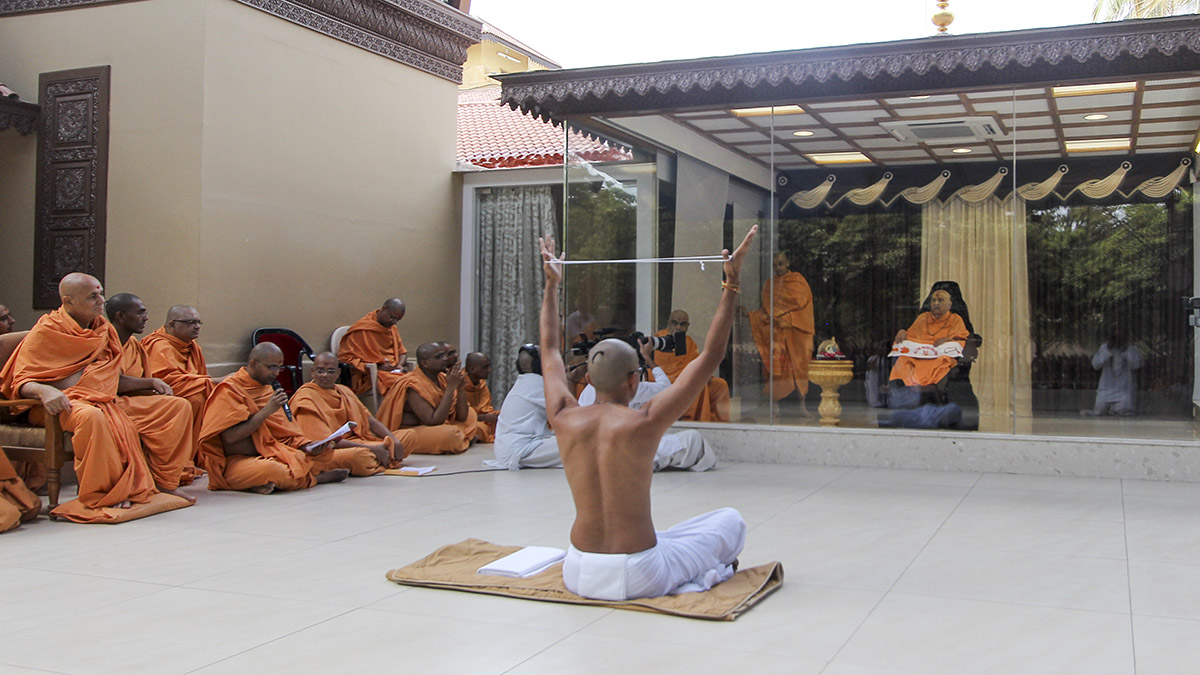 Diksha ceremony conducted in Swamishri's presence to initiate a parshad