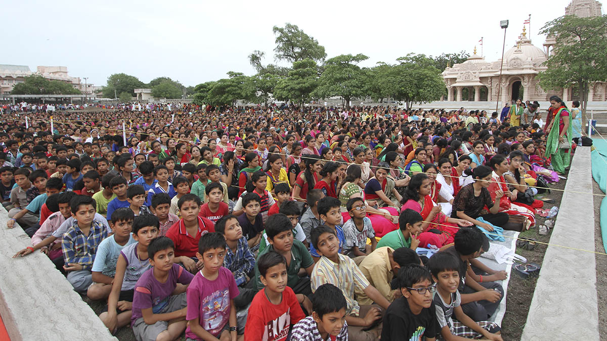 Devotees during Rathyatra celebration assembly