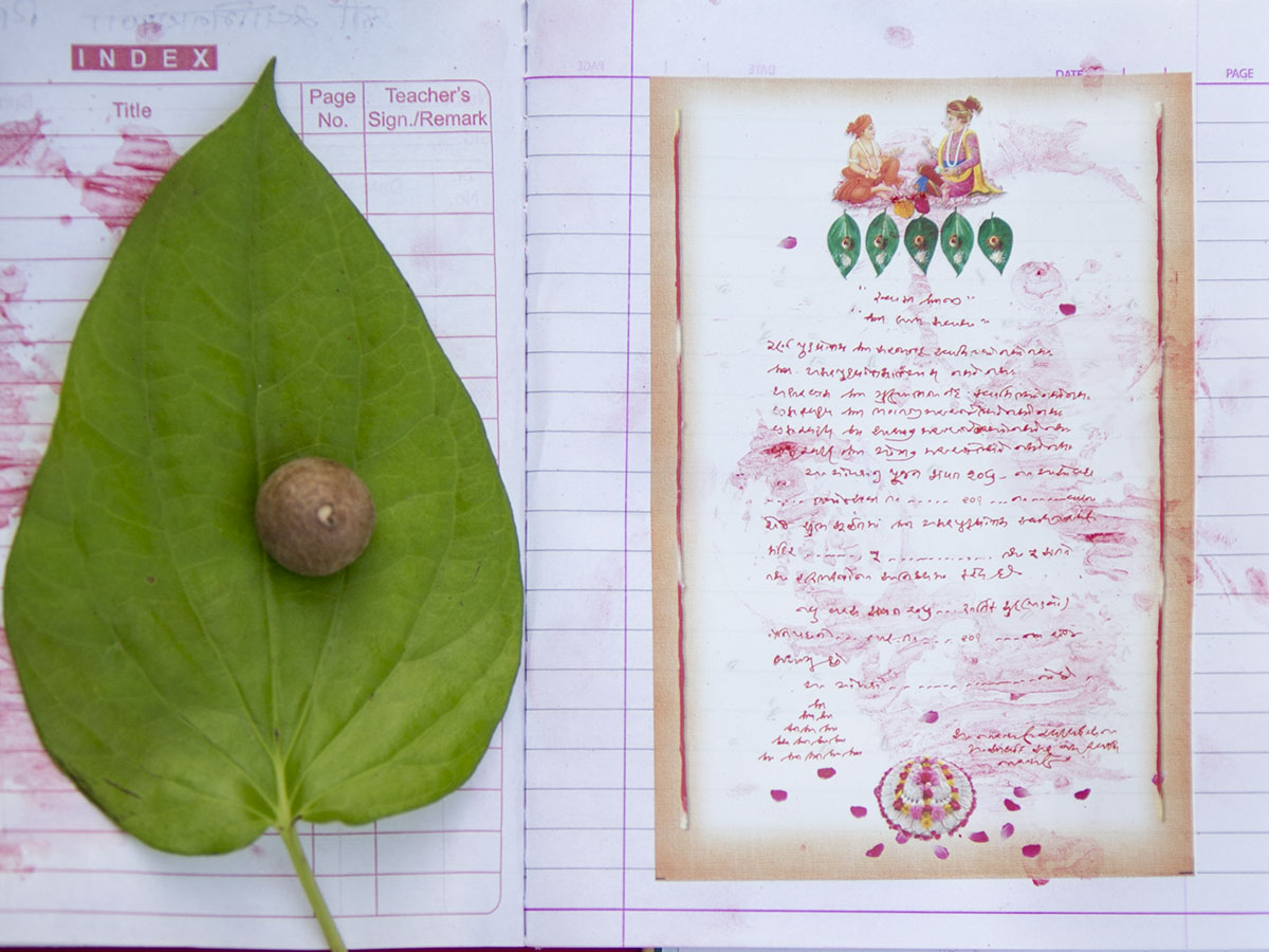 Account books laid out in preparation for Chopda Pujan at Yagnapurush Smruti Mandir, Sarangpur