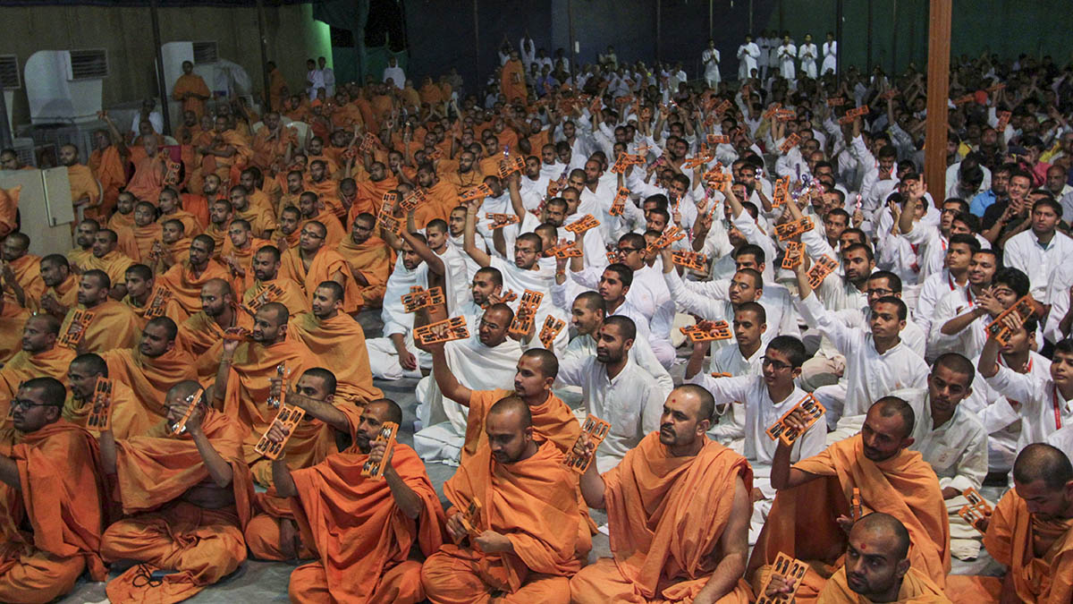 Sadhus participate in Kirtan Bhakti Yagna - singing the praises of Bhagwan Swaminarayan and the Guru Parampara