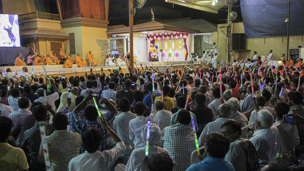 Celebration assembly to mark Swamishri's 1008 days in Sarangpur in the evening