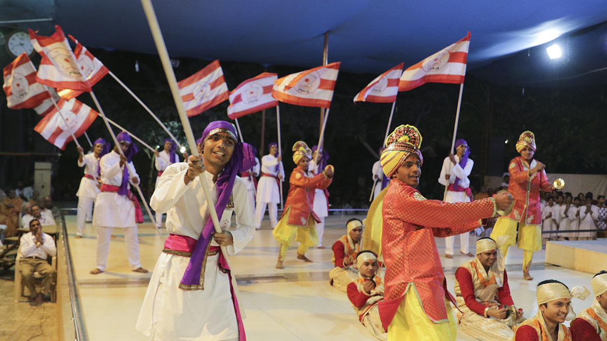 Students of BAPS Chhatralaya, Surat, perform a cultural program