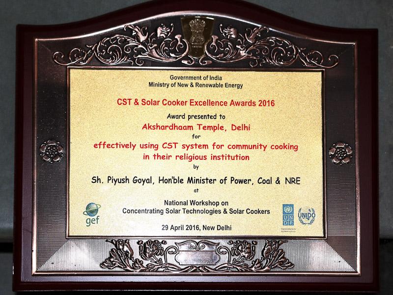 Akshardham Receives Solar Technology Excellence Award