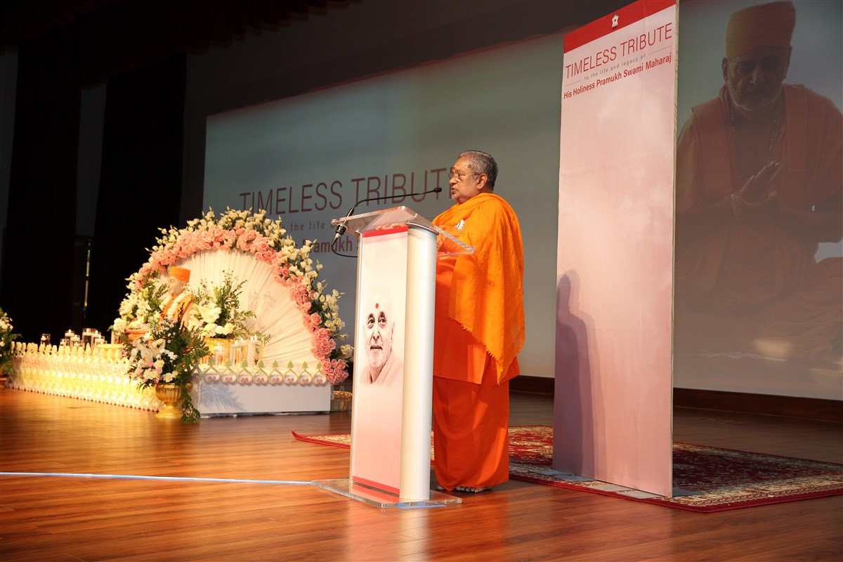 Swami Shantananda, Resident Acharya of  Chinmaya Mission,  New Jersey addressing the tribute assembly