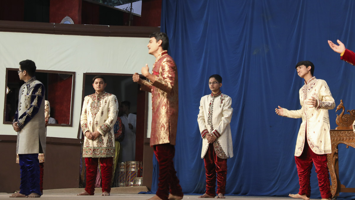 A skit presentation by youths in the evening Annual Day assembly, 13 Feb 2017