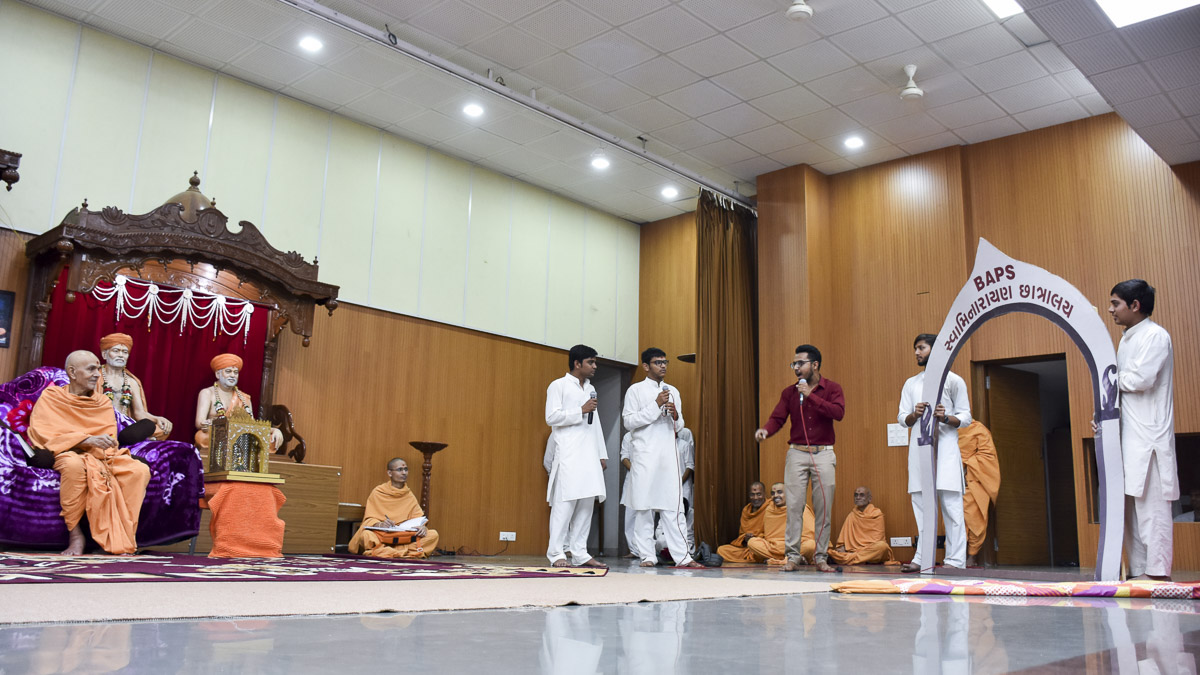A skit presentation by chhatralaya youths in the satsang assembly, 14 Feb 2017