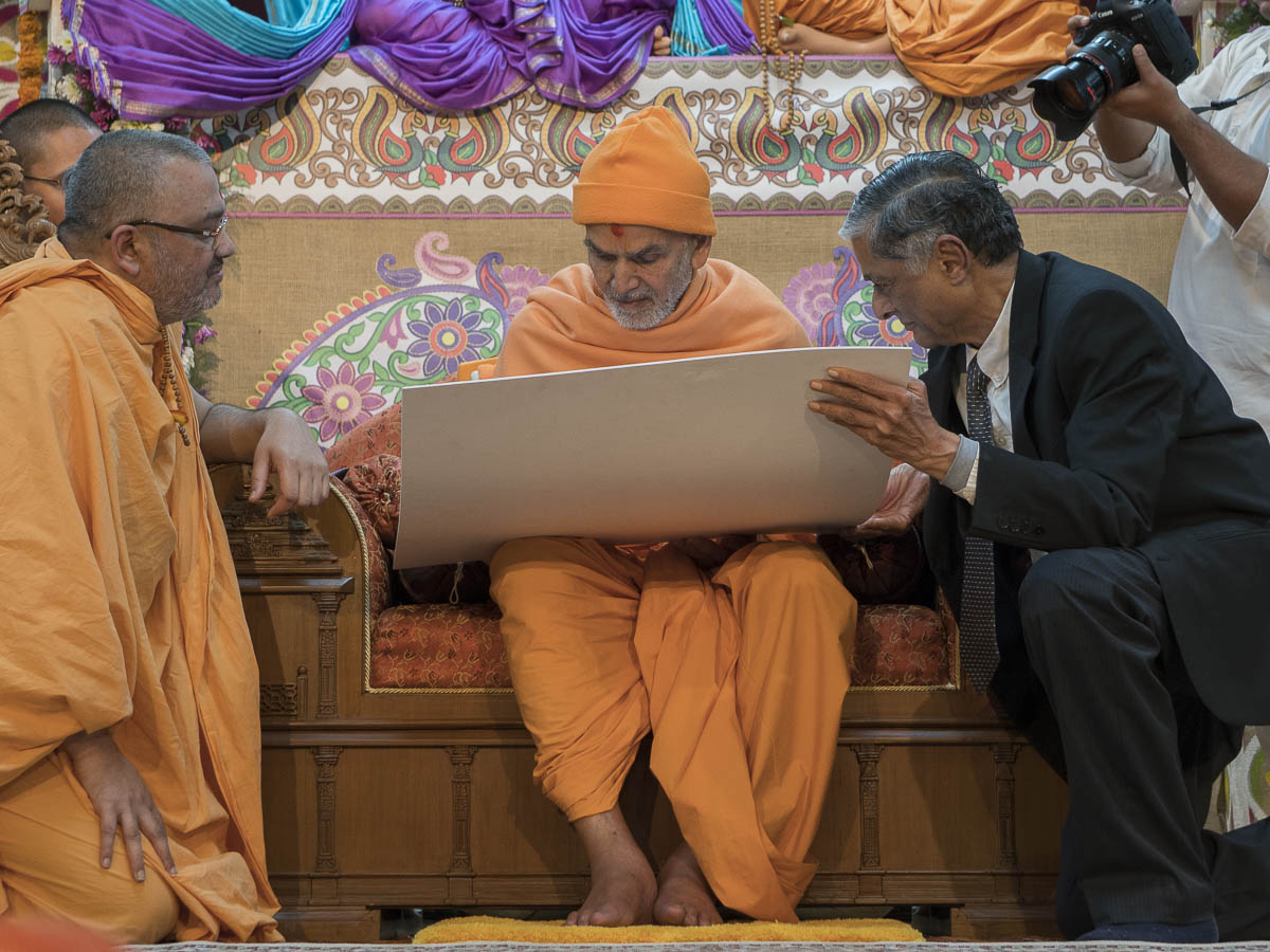 "Param Pujya Mahant Swami Maharaj inaugurates the new website for <a href=""http://swaminarayanresearch.akshardham.com/"" target=""blank"" style=""text-decoration:underline; color:blue;"">BAPS Swaminarayan Research Institute</a>, 24 Feb 2017"