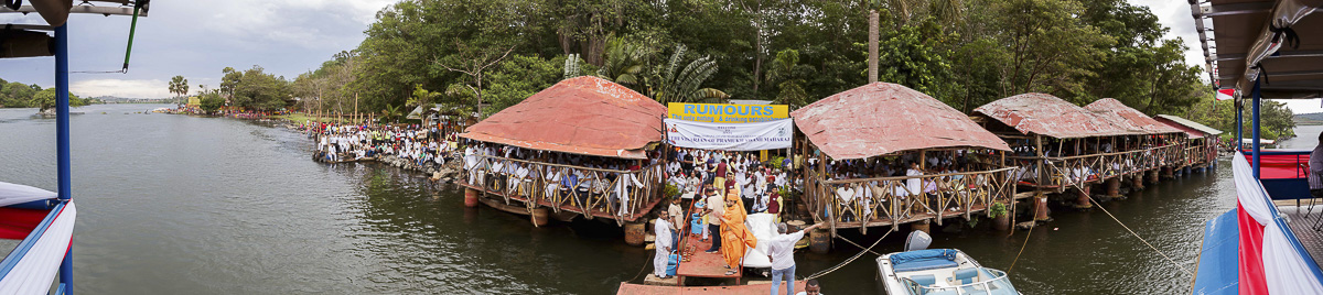 Asthipushpa visarjan ceremony at Lake Victoria at the source of the River Nile