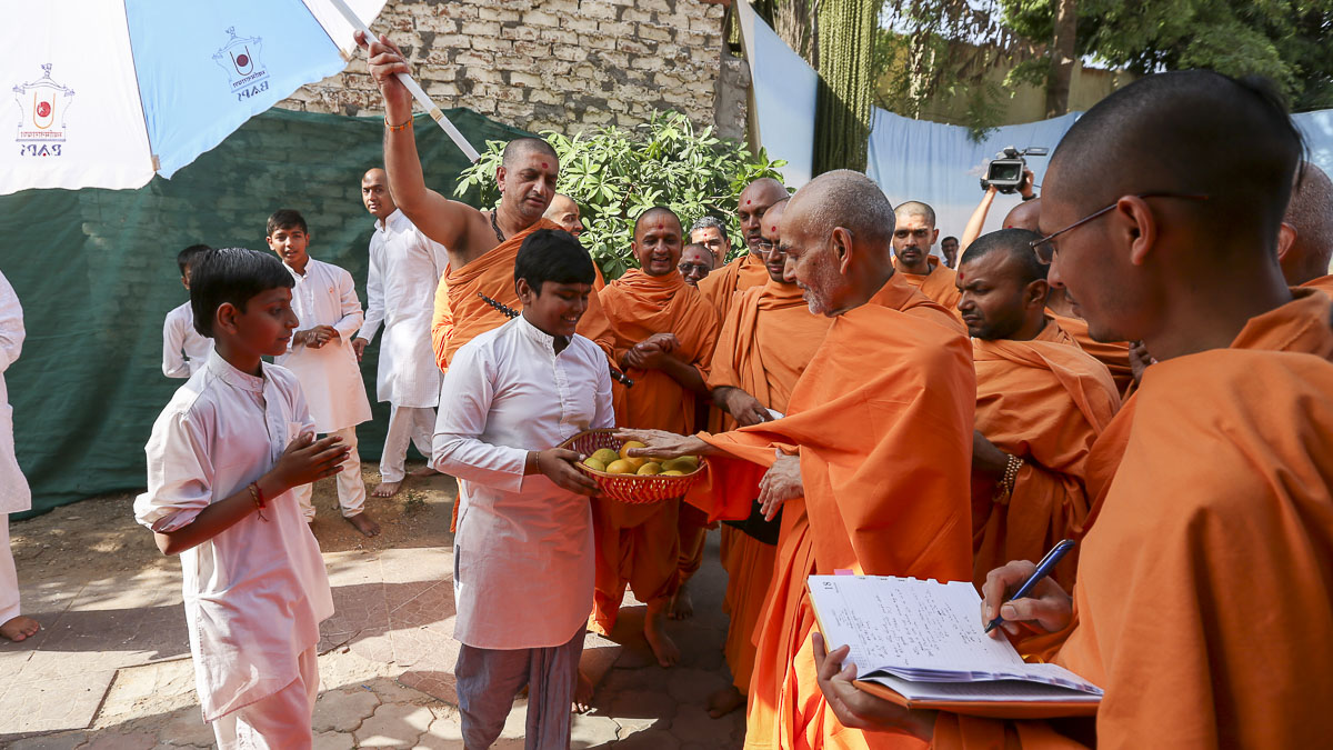 Swamishri sanctifies mangoes, 17 Apr 2017