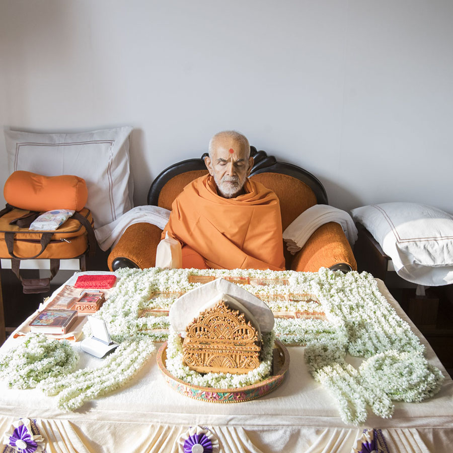 Swamishri performs his morning puja, 29 Apr 2017