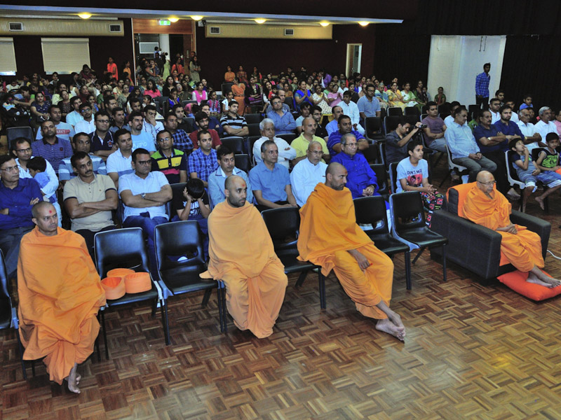 Sadhus and devotees during the kirtan aradhana assembly, Gold Coast