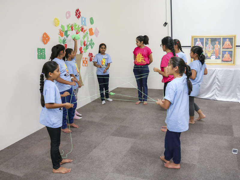 Children participates in the group activity