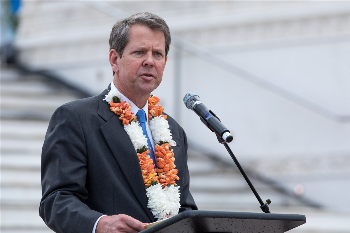 Brian Kemp, Secretary of State of Georgia, addresses the assembly