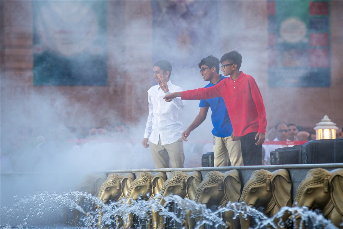 Youths perform a skit to illustrate the benefits of the Mandir