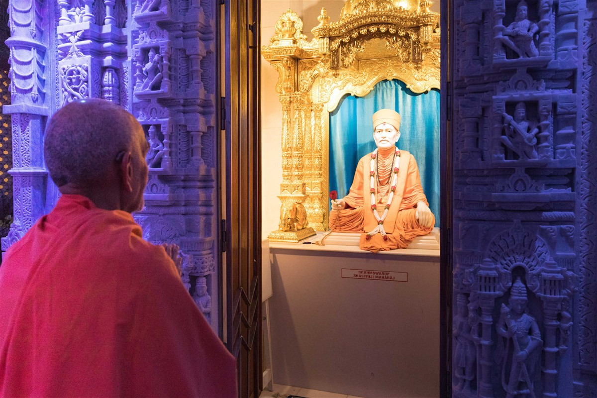 Swamishri engrossed in the darshan of Brahmaswarup Shastriji Maharaj