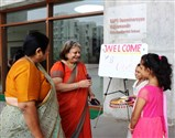 Ms. Rupa Mehta being welcomed at campus