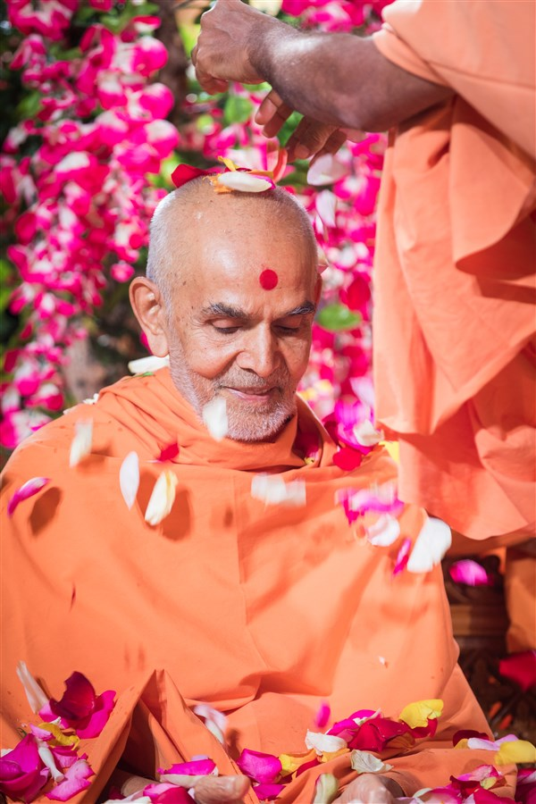 Swamishri is showered with flowers, 19 August 2017