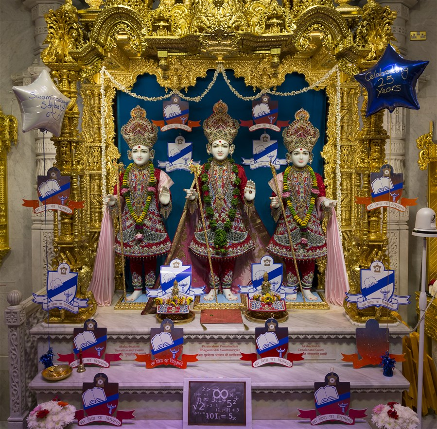 The Swaminarayan School Day was reflected in the decoration of each mandir shrine...