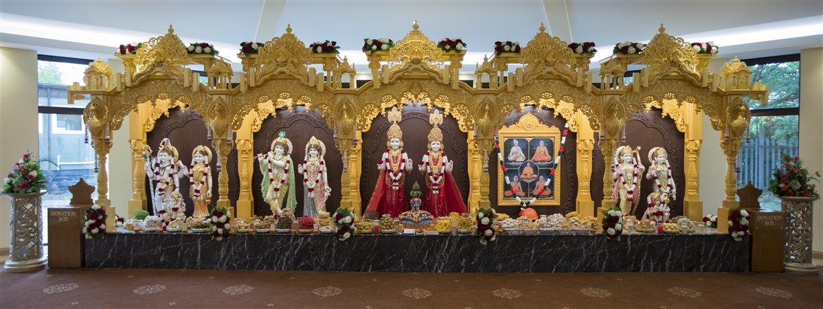 The murtis of BAPS Shri Swaminarayan Mandir, East London