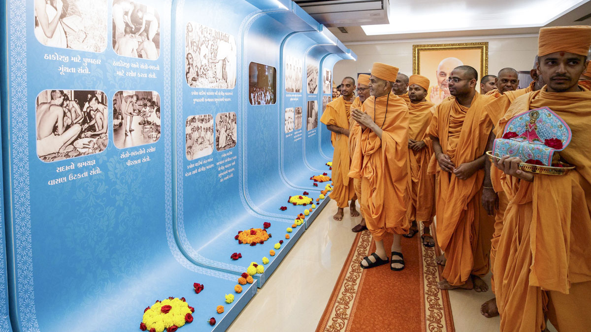 Swamishri observes display panels