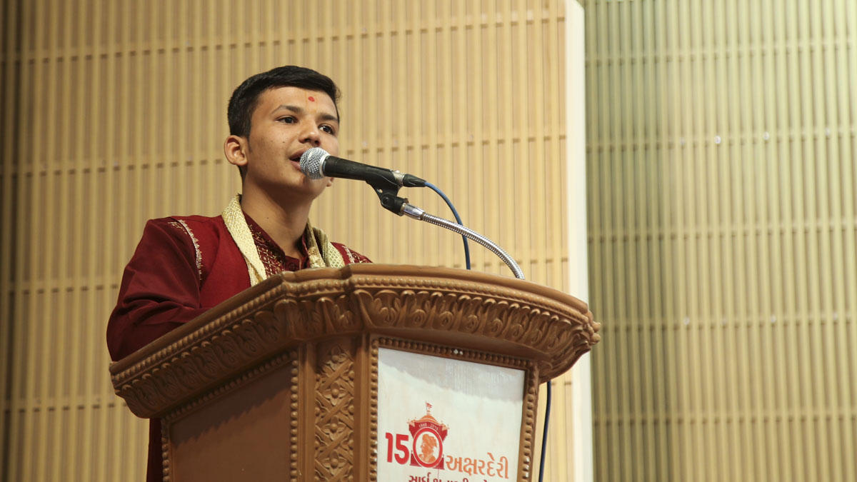A youth addresses the assembly