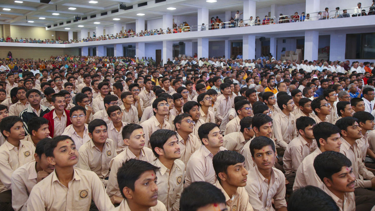Students of the Chhatralaya during the assembly