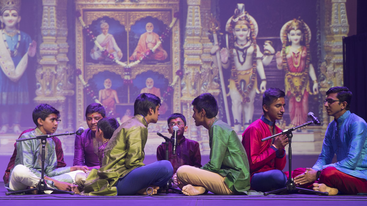 Children and youths sing kirtans in the evening cultural program assembly