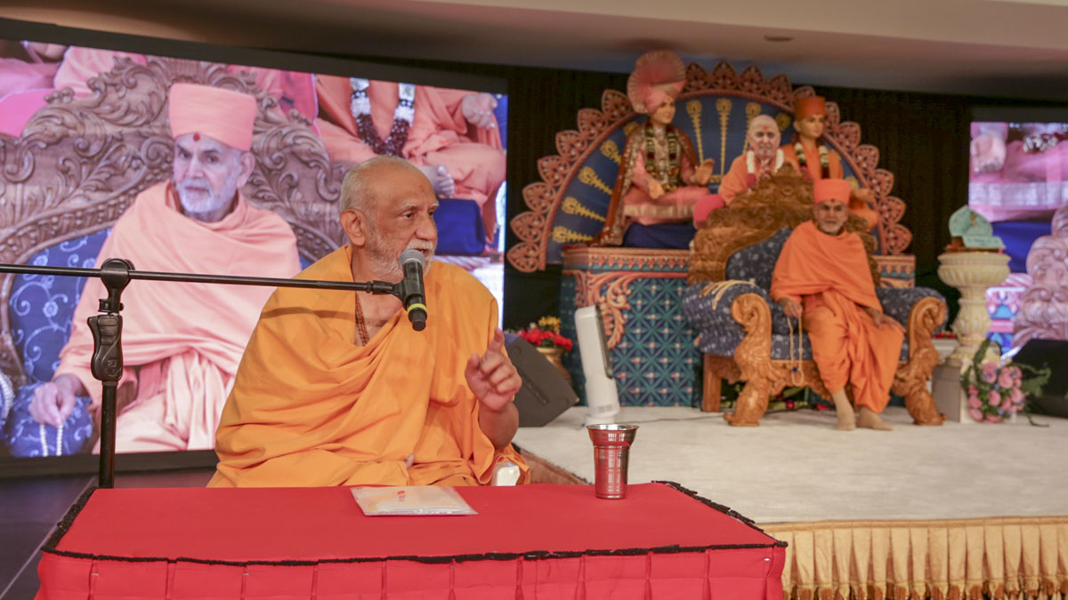 Atmaswarup Swami addresses the morning session of the National Leadership Seminar