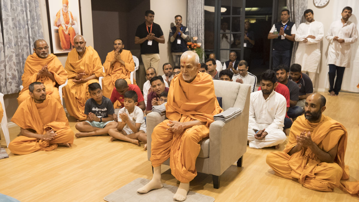 Swamishri during the evening prayers