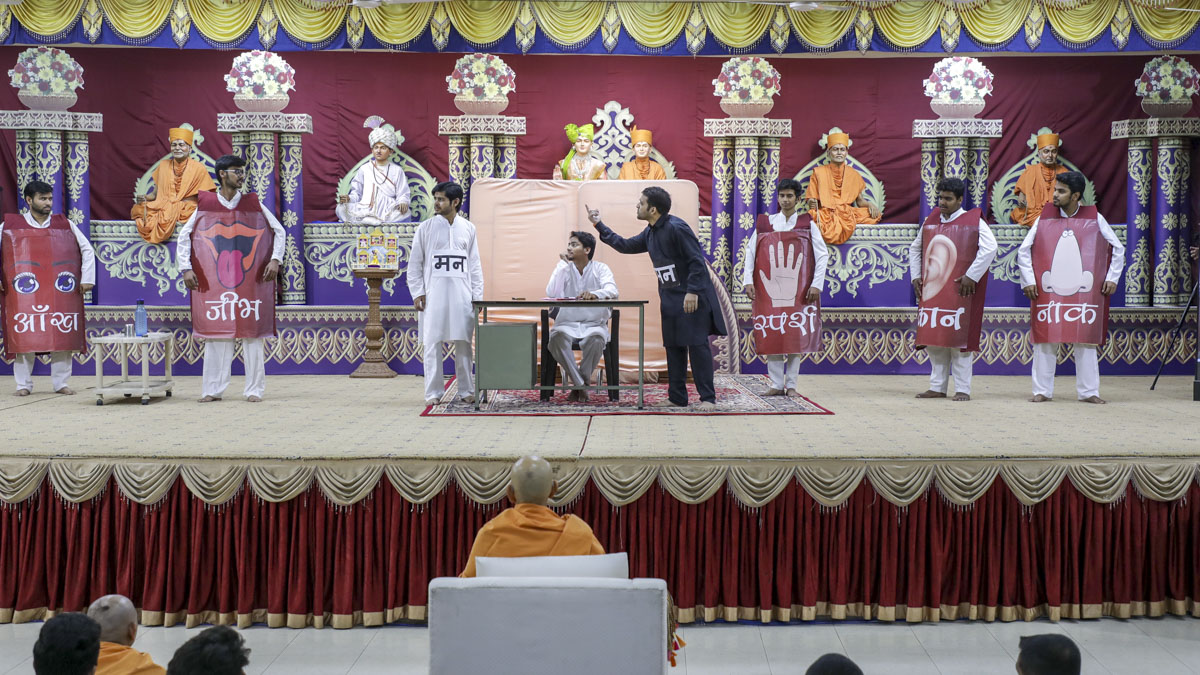 Youths perform a skit in the evening Yuva Din assembly
